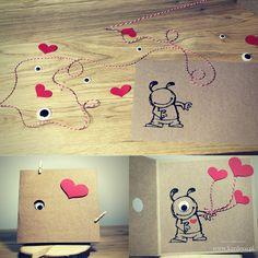 Kartka walentynkowa - potworek z jednym okiem. Kocham Cię. I love you. Kartka z papieru eco craft. Brązowy, czerwony. Oko 3D. Eye 3D. Serce. Hart. Zobacz co jest w środku. Silhouette cameo Walentynki Valentine's Day