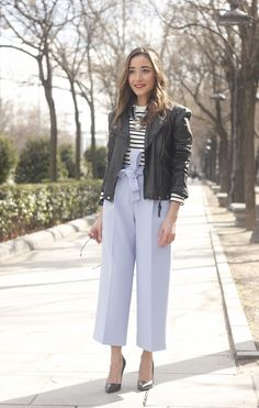 Light Blue Pallazzo pants t-shirt stripes black heels biker jacket dior so real sunglasses outfit style fashion04