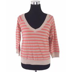"""Splendid Coral Striped Exposed Zip Back Sweater Splendid Coral Striped Exposed Zip Back Sweater   MSRP $98.00  - v-neckline - exposed back zipper  Size: Medium  Measurements taken in inches: Length: 21"""" Bust: 38"""" Waist: 35"""" Hips: 34"""" Sleeves: 13""""  No pp or trades  Fair offers welcome  Bundle discounts available   Thank You. XoXo Splendid Sweaters"""