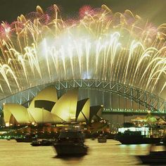 Fireworks over Sydney Opera House and Harbour Bridge
