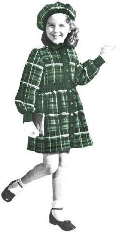 Girls Scottish Tartan Coat & Tam Vintage Knitting Pattern for download Sz 4-8