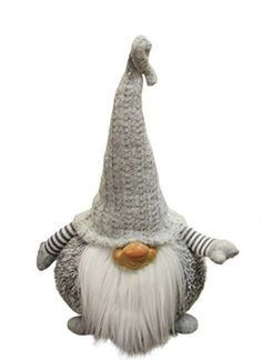 "16"" Gray and White Portly Smirking Gnome Plush Table Top Christmas Figure"