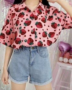 kawaii clothes Pink Kawaii Strawberry Blouse - Material: made of cotton and polyester - Size for reference: Size Shoulder Bust Length Sleeve length One Size Kawaii Fashion, Cute Fashion, 90s Fashion, Korean Fashion, Fashion Outfits, Pastel Fashion, Retro Fashion, Vintage Fashion, Fashion Trends