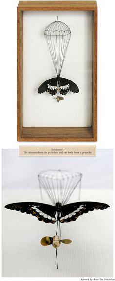 I normally don't like the art of pinning insects, but this has a ton of whimsy.    http://anneten.nl/