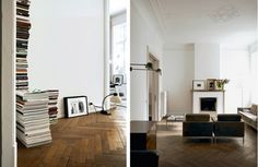 book stacks, knoll chairs, fireplace
