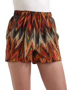Charlie Jade Silk Satin Tribal Shorts