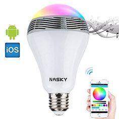 NASKY Wireless Bluetooth 40 Speakers E27 LED Light Lamp Bulb Speaker Smartphone Controlled Dimmable Color Changing Lights