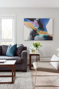 We are an full service interior design firm. Condo Living Room, Living Room Decor, Contemporary Design, Modern Design, Small Condo, Bright Walls, Banquette Seating, Oak Cabinets, Design Firms