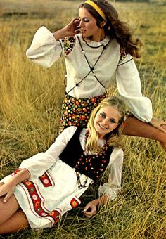 """Vintage Fashion Late """"Peasant"""" Style Hippie Clothes - fashion history for women. A return to youth, shocking colors, shorter hemlines, pop art and the hippie movement. What did women wear? 1960s Fashion Hippie, 60s And 70s Fashion, Seventies Fashion, Folk Fashion, Vintage Fashion, Womens Fashion, Fashion Top, Fashion Ideas, Fashion Design"""