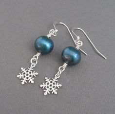 Let it Snow Earrings - Freshwater Blue Pearls and Silver Snowflake charms by Sea Chelles Design