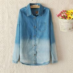 Fashion Blue Gradient Denim Shirt for only $28.00 ,cheap Unusual Tops - Clothing & Apparel online shopping,Fashion Blue Gradient Denim Shirt it's easy to match clothes.