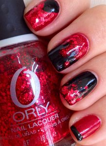 Sparkling blood Halloween nails by Stacemonger