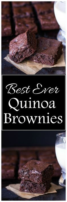 Quinoa Brownies Best-Ever Quinoa Brownies- so perfect and delicious, you would never know they are gluten-free!Best-Ever Quinoa Brownies- so perfect and delicious, you would never know they are gluten-free! Healthy Baking, Healthy Desserts, Delicious Desserts, Yummy Food, Quinoa Desserts, Healthy Food, Gluten Free Baking, Gluten Free Desserts, Quinoa Flour Recipes