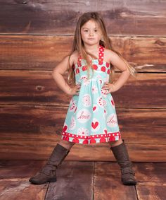 Look what I found on #zulily! Light Blue & Red 'Love' Coley Dress - Infant, Toddler & Girls #zulilyfinds