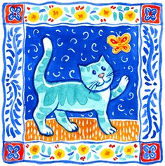 Folk Cat by Geraldine Aikman - I grew interested in tile designs and using a square format. Multi-purpose design - for stationery, home goods and more. American Indian, Ethnic, African American, Hispanic. World Art.