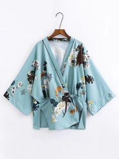 Shop Split Side Tie Waist Floral Kimono online. SheIn offers Split Side Tie Waist Floral Kimono & more to fit your fashionable needs.