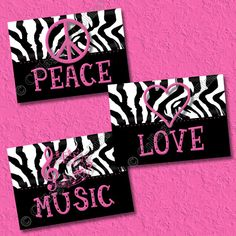 photos of zebra and peace sign bedrooms for girls | Hot Pink Zebra Print Art Wall Decor Peace Sign by collagebycollins
