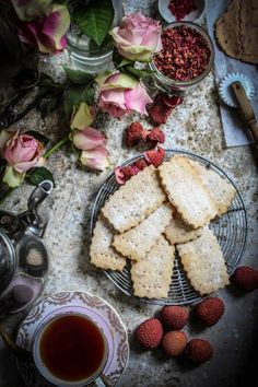 rose lychee and raspberry shortbread cookies