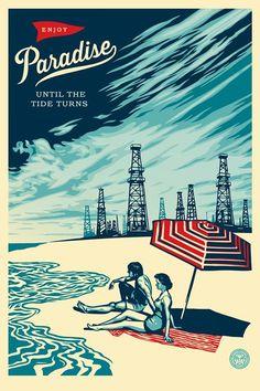 Limited Edition Art Prints Shepard Fairey Paradise Turns Poster Print 2014 Beach Playa Del Rey CA Gravure Illustration, Illustration Art, Landscape Illustration, Shepard Fairy, Shepard Fairey Obey, Art Du Monde, Arte Hip Hop, Image Deco, Plakat Design