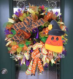 Halloween Wreath Candy Corn Wreath Happy by SandstoneCustmWreath