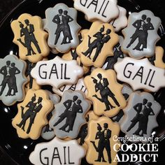 Confections of a Cookie Addict specializes in custom cookies for any occasion. Speciatly cookies handmade in Durham, NC 1920s Party, Gatsby Party, Gatsby Cookies, Roaring 20s Theme, Burlesque Party, 30th Birthday Parties, Birthday Cake, Custom Cookies, Royal Icing