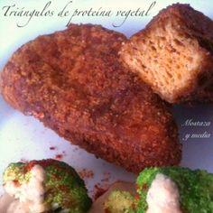 Nueva receta en Mostaza y media: Triángulos fritos de proteína vegetal a base garbanzos y gluten.  #vegan #recipes #seitan #falafel