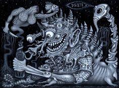 "DEMON ALCOHOL by Robert Steven Connett, Original size 9"" x 12"" ~ Acrylic on board ~ 2001 ~ rsconnett.com"