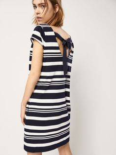STRIPED DRESS WITH TIED BOW DETAIL - Women - Massimo Dutti