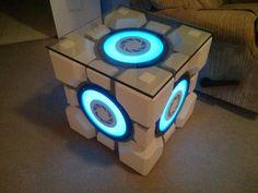 DIY portal-companion-cube-table. WHAT?!