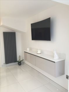 The floating Media Unit by Purple Kitchens in Liverpool using our Zurfiz UltraGloss Cashmere doors. Lounge Curtains, Conservatory Extension, Purple Kitchen, Bedroom Makeovers, Media Unit, Kitchens And Bedrooms, Liverpool, Living Rooms, Kitchen Ideas