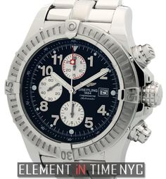 #Breitling Super Avenger Chronograph 48mm iN Stainless Steel With A Black Arabic Dial (A13370)