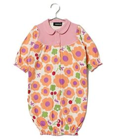 kladskap(キッズ)のお花柄カバーオール(ロンパース)|ピンク