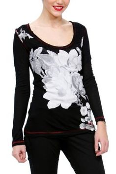 Lara Desigual women's T-shirt from the Night line. Black, long sleeved T-shirt with round, open neck and floral motifs on the front.