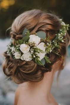 Rustic Vintage Updo Wedding Hairstyle For Long Hair with Flowers and Greenery in. Rustic Vintage Updo Wedding Hairstyle For Long Hair with Flowers and Greenery in medium length for Round Faces Spring DIY Country Wedding Headpiece Ideas Wedding Hair Flowers, Wedding Hair And Makeup, Bridal Flowers, Flowers In Hair, Hair Styles Flowers, Bridesmaid Hair Flowers, Flower Headpiece Wedding, Bridal Makeup, Country Wedding Flowers