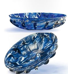 A mosaic bowl, Roman, 1st century B.C.-1st century A.D., blue and white glass.