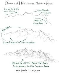 How to draw a horizontal mountain range map cartography drawing illustration… Drawing Lessons, Drawing Techniques, Drawing Tips, Drawing Reference, Art Lessons, Drawing Ideas, Learn Drawing, Hand Reference, Design Reference