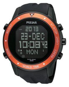 Relógio Pulsar PQ2017 Digital Display Orange Bezel Men's Watch #Relogio #pulsar