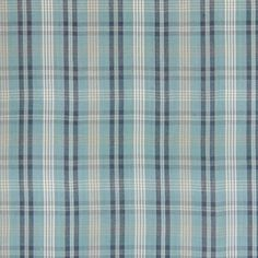 Mineral Blue Plaid Cotton Woven Upholstery Fabric