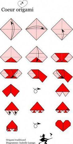 diagramme coeur origami-Per Ali Origami Design, Origami 3d, Origami Envelope, Origami Ball, Origami Butterfly, Paper Crafts Origami, Useful Origami, Origami Flowers, Paper Crafting