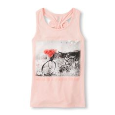 Girls Sleeveless Embellished Graphic Bow Racer-Back Top