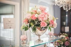 Love Is In The Air - centerpiece - pink and green with peonies, roses, queen anne's lace, baby's breath..... ahhhh