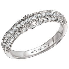 Wedding Band with Milgrain Detail in 18kt White Gold. (0.47 carat total weight) kimint.com @coluccisjewelry