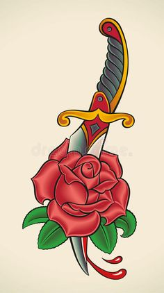 Image result for old school tattoo rose dagger