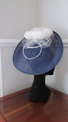 Items similar to Navy Hatinator - Ladies Day Hat - Kentucky Derby - Ascot - Wedding Headpiece on Etsy Kentucky Derby, Headpieces, Ladies Day, Fascinator, Trending Outfits, Unique Jewelry, Hats, Wedding, Vintage