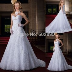 Find More Wedding Dresses Information about Beautiful Appliques Overlay Tulle Chapel Train White Wedding Gown Beaded Sweetheart Open Back A line Dress For Weddings 2015,High Quality gown women,China gown wedding Suppliers, Cheap dress turquoise from youthbridal on Aliexpress.com
