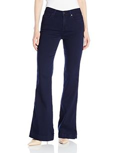 7 For All Mankind Women's Ginger Fashion Trouser Jean in, Featherweight Rich Blue, Retro-inspired pant in uninterrupted wash featuring flared leg and clean back pockets. Trouser Jeans, Trousers, Pants, Blue Fashion, Diy Fashion, Denim Fabric, Latest Fashion Trends, Bell Bottom Jeans, How To Wear