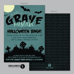 Halloween Invitation invitations ticket movie stub