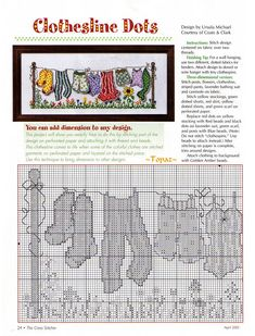 Clothesline Dots - 1/2 Solo Patrones Punto Cruz | Aprender manualidades es facilisimo.com