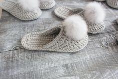Gray crochet slippers Bride slippers Custom slippers for image 2 Bride Slippers, Womens Slippers, Crochet Baby, Knit Crochet, Knitted Slippers, Crochet Shoes, Crochet Patterns For Beginners, Craft Stick Crafts, Mother Gifts