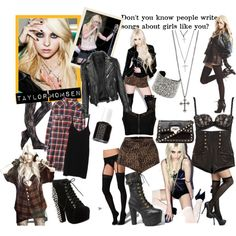 """Taylor Momsen""   grunge, goth, rock, boots, leather, lace,"